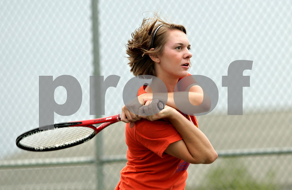 Beck Diefenbach - bdiefenbach@daily-chronicle.com<br /> <br /> Sycamore's Veronica Behrens returns the ball during practice at Sycamore High School in Sycamore, Ill., on Tuesday Aug. 17, 2010.