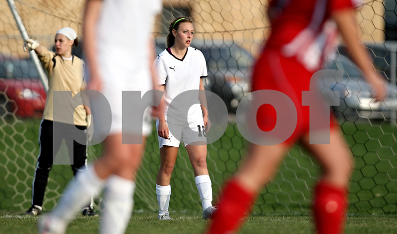Rob Winner – rwinner@daily-chronicle.com<br /> <br /> Sycamore's Sarah Papini watches for Batavia to inbound the ball during the second half on Thursday April 22, 2010 in Sycamore, Ill. Batavia went on to defeat Sycamore, 2-0.