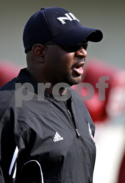 Beck Diefenbach - bdiefenbach@daily-chronicle.com<br /> <br /> Northern Illinois tight ends coach Brian Anderson during the first practice at Huskie Stadium in DeKalb, Ill., on Thursday Aug. 5, 2010.