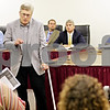 Beck Diefenbach  -  bdiefenbach@daily-chronicle.com<br /> <br /> Dr. Theodore J. Hogan answers questions about the health risks of hydrogen sulfide found near Cortland Elementary School during the DeKalb School Board meeting at the district's administrative offices in DeKalb, Ill., on Thursday July 29, 2010.