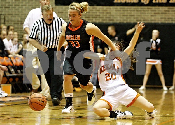 Rob Winner – rwinner@daily-chronicle.com<br /> <br /> Harlem's Autumn Miller knocks DeKalb's Taylor White in the face as the two chase after a ball during the second quarter on Tuesday November 16, 2010 in DeKalb, Ill.