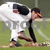 Beck Diefenbach  -  bdiefenbach@daily-chronicle.com<br /> <br /> DeKalb first baseman Jake Jouris (16) is unable to stop a ground ball during the fourth inning of the game against Geneva at DeKalb High School in DeKalb, Ill., on Wednesday May 12, 2010. DeKalb defeated Geneva 4 to 3.