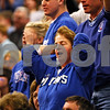Beck Diefenbach  -  bdiefenbach@daily-chronicle.com<br /> <br /> A Hinckley-Big Rock fan reacts to a referee's call during the second quarter of the IHSA Class 1A Super Sectional championship game against Stockton at Judson University in Elgin, Ill., on Monday Feb. 22, 2010.