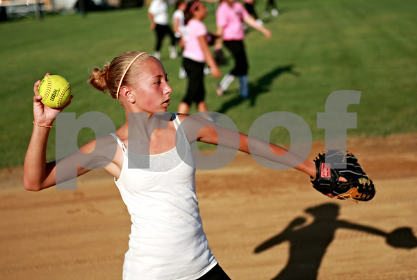 Beck Diefenbach  -  bdiefenbach@daily-chronicle.com<br /> <br /> Natilee Morey throws a ball during tryouts for a new 14U travel fastpitch softball team called Sycamore Flash, at the Sycamore High School softball field in Sycamore, Ill., on Wednesday July 28, 2010.