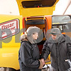"Beck Diefenbach  -  bdiefenbach@daily-chronicle.com<br /> <br /> Karen Cornier, left, welcomes back Joe Bronski after his ride in the Oscar Meyer Wienermobile outside the Grand Victorian in Sycamore, Ill., on Friday Jan. 15, 2010. Bronski's daughter, Mary Ellerson, requested the special stop by the famous hot dog car, in which driver Victoria Oleson said Oscar Meyer was happy to do. ""We knew it was something that would make Joe happy,"" Oleson said. Bronski, a car enthusiast, even used to own a model of the Wienermobile."