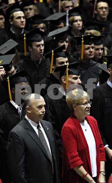 Rob Winner – rwinner@daily-chronicle.com<br /> <br /> Gary Parmenter and Linda Greer, parents of Daniel Parmenter, attended the Saturday afternoon graduation ceremony at NIU to receive an honorary  posthumous degree on May 8, 2010 in DeKalb, Ill.