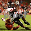 Beck Diefenbach  -  bdiefenbach@daily-chronicle.com<br /> <br /> Northern Illinois running back Chad Spann (28) is taken down before making it to the end zone during the fourth quarter of the game at Jack Trice Stadium on the campus of Iowa State University in Ames, Iowa, on Thursday Sept. 2, 2010. Iowa State defeated Northern Illinois 27 to 10.