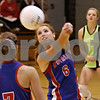 Rob Winner – rwinner@daily-chronicle.com<br /> <br /> Hinckley-Big Rock's Rachel Michaels bumps the ball in the second game against Mooseheart in Hinckley, Ill. on Wednesday October 27, 2010. Hinckley-Big Rock defeated Mooseheart, 25-11 and 25-14.