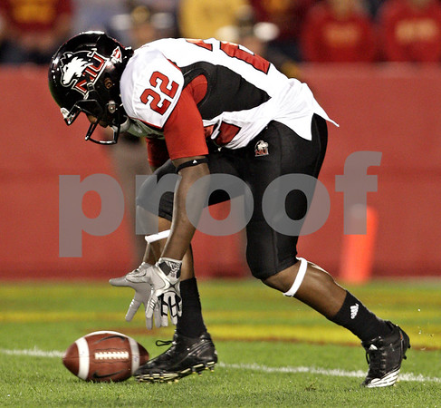 Beck Diefenbach  -  bdiefenbach@daily-chronicle.com<br /> <br /> Northern Illinois running back Ricky Crider (22) drops the ball after receiving a kickoff during the second quarter of the game at Jack Trice Stadium on the campus of Iowa State University in Ames, Iowa, on Thursday Sept. 2, 2010. Iowa State defeated Northern Illinois 27 to 10.