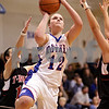 Beck Diefenbach  -  bdiefenbach@daily-chronicle.com<br /> <br /> Hinckley-Big Rock's Katie Hollis (12, right) shoots the ball during the second half of the Little 10 Tournament semi-final game at H-BR in Hinckley, Ill., on Thursday Jan. 21, 2010. H-BR defeated Indian Creek 69 to 34.