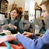 Rob Winner – rwinner@daily-chronicle.com<br /> Natasha Lehrer (left), founder of Esther's Place in Big Rock, Ill., and Susan Flex, of Waterman, make felt flowers on Thursday February 25, 2010.