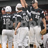 Beck Diefenbach  -  bdiefenbach@daily-chronicle.com<br /> <br /> Kaneland's Dave Dudzinski (22, right) leads the congratulations following several runs during the seventh inning of the game against DeKalb at DeKalb High School in Dekalb, Ill., on Thursday May 20, 2010.