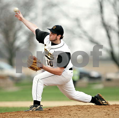 Beck Diefenbach  -  bdiefenbach@daily-chronicle.com<br /> <br /> Sycamore pitcher Trent Owens (10) throws the ball during the top of the fifth inning of the game against DeKalb at Sycamore Park in Sycamore, Ill., on Tuesday April 6, 2010.