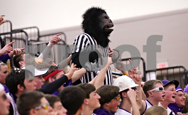 Beck Diefenbach  -  bdiefenbach@daily-chronicle.com<br /> <br /> A Rochelle fan dressed as a gorilla during the second quarter of the IHSA Class 3A Regional game at Rochelle Township High School in Rochelle, Ill., on Wednesday Feb. 17, 2010