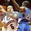 Rob Winner – rwinner@daily-chronicle.com<br /> <br /> Northern Illinois forward Tim Toler looks to shoot over Boise State forward Sean Imadiyi during the first half in DeKalb, Ill. on Monday November 29, 2010.