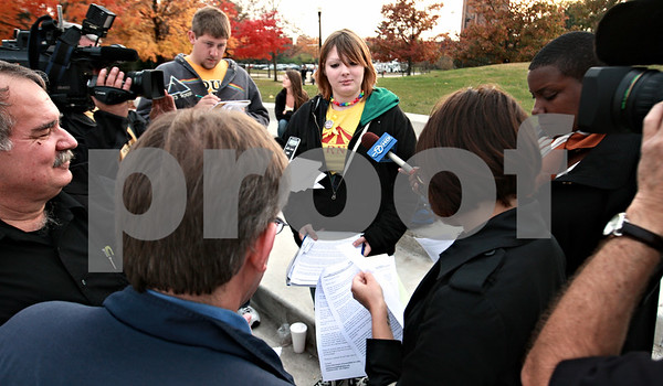 Kyle Bursaw - kbursaw@daily-chronicle.com<br /> <br /> NIU Sophomore Sara Pezel fields questions from the media at MLK Commons. Pezel and her mother attempted to organize a peaceful protest Monday at that location, but the protest was cancelled. 10.25.10