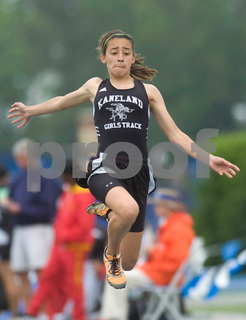 Kaneland's Ashley Castellanos long jumps Friday at the Class 2A State Track Meet in Charleston.