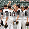 Beck Diefenbach  -  bdiefenbach@daily-chronicle.com<br /> <br /> The DeKalb baseball team returns to the filed after the injury time out during the first inning of the IHSA Class 3A State Semifinal Game against Marian Central in Joliet, Ill., on Friday June 11, 2010.