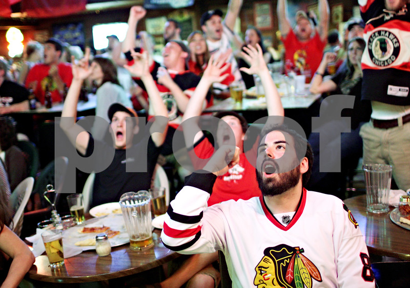 Beck Diefenbach  -  bdiefenbach@daily-chronicle.com<br /> <br /> Tom Rebellato, of DeKalb, reacts after the Chicago Blackhawks score a goal against the Philadelphia Flyers during the first period of Game 6 of the Stanley Cup Finals at Lord Stanely's Bar in DeKalb, Ill., on Wednesday June 9, 2010.