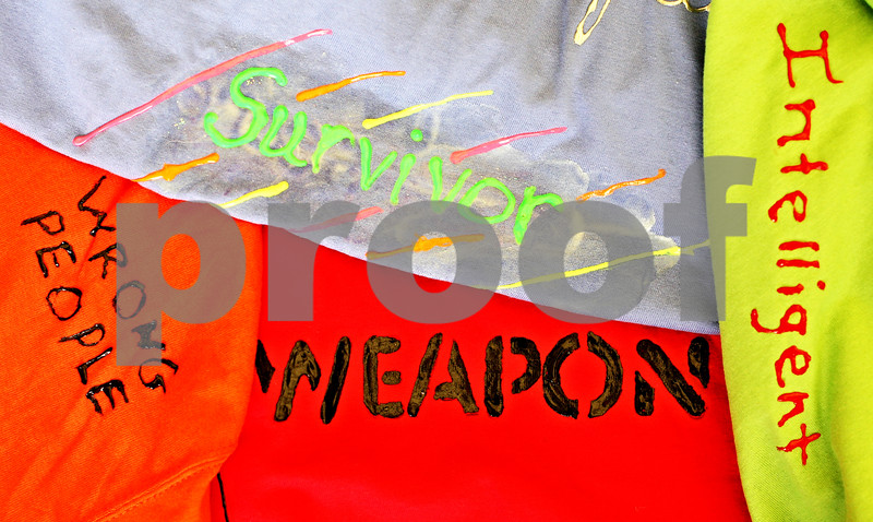 Beck Diefenbach  -  bdiefenbach@daily-chronicle.com<br /> <br /> T-shirts made for the Clothesline Project were on display in Stevenson Hall on the campus of NIU in DeKalb, Ill., on Tuesday April 13, 2010. The Clothesline Projects is an event to raise awareness of domestic and sexual violence using t-shirts decorated by the victims.