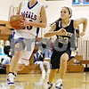 Rob Winner – rwinner@daily-chronicle.com<br /> <br /> After a stealing the ball from Immaculate Conception's Megan Sutton (right), Hinckley-Big Rock's Alyssa Baunach goes to the basket for two during the second quarter in Somonauk, Ill. on Monday November 15, 2010.