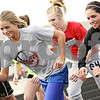 Beck Diefenbach  -  bdiefenbach@daily-chronicle.com<br /> <br /> Genoa-Kingston's Molly Meier leads the pack during track practice at Genoa-Kingston High School in Genoa, Ill., on Tuesday March 16, 2010.