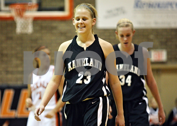 Rob Winner – rwinner@daily-chronicle.com<br /> <br /> Kaneland guard Tesa Alderman reacts after being called for a technical foul in the first quarter in DeKalb on Tuesday.