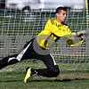 Rob Winner – rwinner@daily-chronicle.com<br /> <br /> Indian Creek goalkeeper Aaron Bolton makes an early save during the regional quarterfinal against Byron in Waterman, Ill. on Wednesday October 13, 2010. Indian Creek went on to defeat Byron, 2-1, in double overtime.