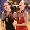 Kyle Bursaw - kbursaw@daily-chronicle.com<br /> <br /> Indian Creek players Anna Stiker and Cameron Wallace celebrate after defeating Hinckley-Big Rock.