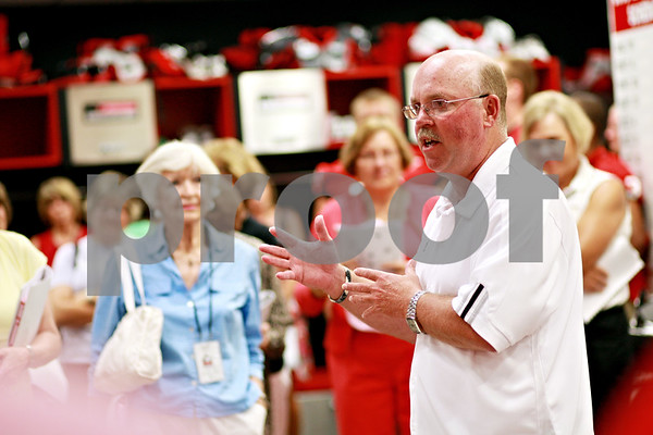 Beck Diefenbach  -  bdiefenbach@daily-chronicle.com<br /> <br /> Head coach Jerry Kill gives a pep talk to participants during the Northern Illinois University football 101 women's clinic at Huskie Stadium in DeKalb, Ill., on Tuesday July 27, 2010.