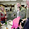 Daily Chronicle receptionist Kandi Tomisek (from left) received a visit from WLBK 1360 AM radio host Terry Ryan and Larry Timpe for being nominated by Ken Donald (not pictured) for Administrative Professionals Day on Wednesday April 21, 2001. Tomisek also received flowers and a ring among many other gifts for the nomination.