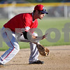 Beck Diefenbach  -  bdiefenbach@daily-chronicle.com<br /> <br /> Liners' Kenton Parmley (9) fields a ground ball during the first inning of the DeKalb County Liners home opening game at Founder Field at Sycamore Park in Sycamore, Ill., on Wednesday June 16, 2010.