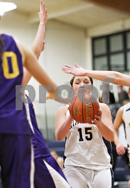 Rob Winner – rwinner@daily-chronicle.com<br /> <br /> Hiawatha's Michele Novelli controls a pass while surrounded by a trio of Serena defenders in the second quarter in Kirkland, Ill. on Monday December 6, 2010.