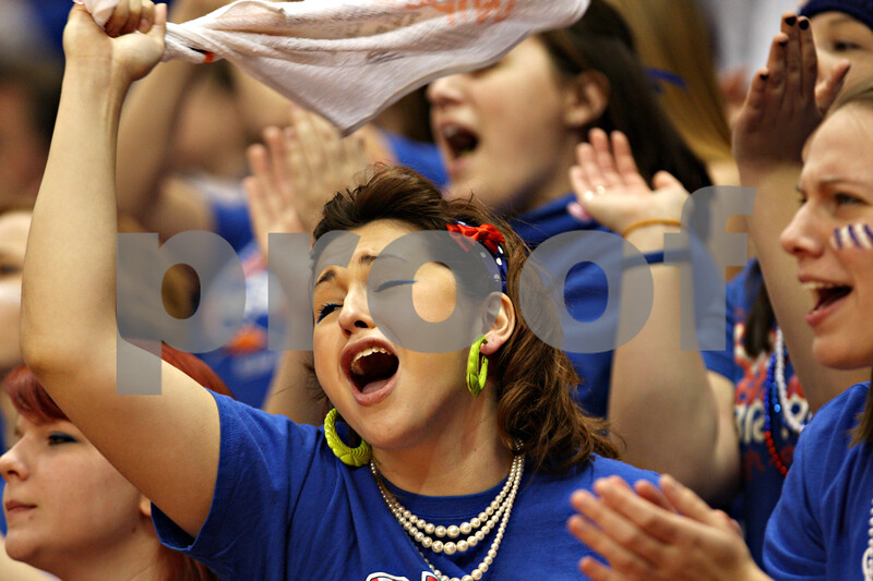 Beck Diefenbach - bdiefenbach@daily-chronicle.com<br /> <br /> Hinckley-Big Rock fans cheer on their team during the third quarter of the IHSA Class 1A semifinal game against Ridgewood at the Red Bird Arena on the campus of Illinois State University in Bloomington, Ill., on Friday Feb. 26, 2010.