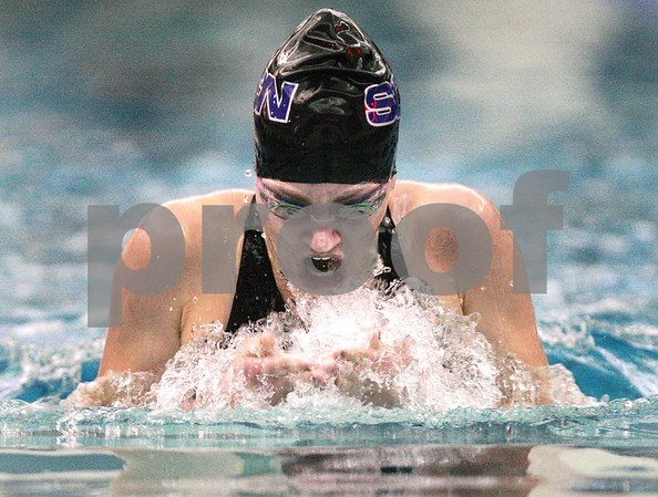 Kyle Bursaw – kbursaw@daily-chronicle.com<br /> <br /> Chloe Tykal of St. Charles North swims a breast stroke in the 200 relay. She took sixth place in that event with a time of 2:18.23 at St. Charles North High School on Nov. 13, 2010.