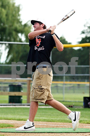 Beck Diefenbach  -  bdiefenbach@daily-chronicle.com<br /> <br /> DeKalb Jake Jouris swings for the fences in a home run competition before the DeKalb County Liners game at Sycamore Park in Sycamore, Ill., on Monday June 28, 2010.