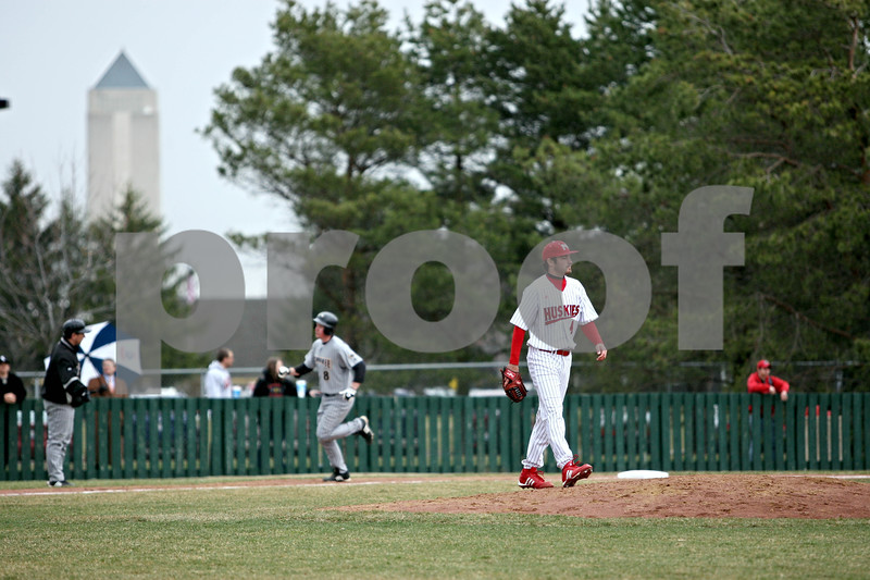 Rob Winner – rwinner@daily-chronicle.com<br /> <br /> NIU pitcher Tom Barry heads back to the mound after serving up a solo home run to Paul Hoenecke of UWM in the top of the sixth inning in DeKalb, Ill. on Wednesday March 24, 2010.<br /> <br /> **I learned that Barry actually started this game, but apparently Nitz talked to him for the story.
