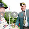 "Rob Winner – rwinner@daily-chronicle.com<br /> <br /> Jules D. ""Butch"" Spindler, the Illinois VFW State Commander, presents Oak Crest resident and World War II veteran Bill Hatheway with a pin after a Memorial Day ceremony on Monday May 31, 2010 in DeKalb, Ill."