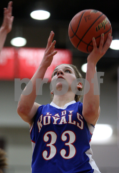 Rob Winner – rwinner@daily-chronicle.com<br /> Hinckley-Big Rock's Tess Godhardt goes to the basket during the second half of Thursday night's sectional game against Elgin Academy. Hinckley-Big Rock defeated Elgin Academy, 62-35.