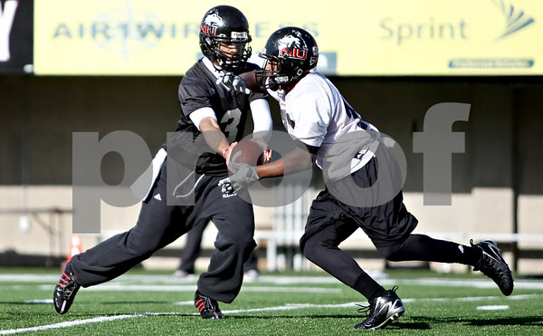 Rob Winner – rwinner@daily-chronicle.com<br /> <br /> DeMarcus Grady hands the ball off to tailback Ricky Crider during NIU football practice on Tuesday March 23, 2010 in DeKalb, Ill.