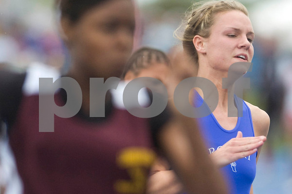 Rosary's Anna Deufel runs in the 200 meter dash Friday at the Class 2A State Track Meet in Charleston.