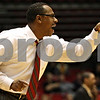 Rob Winner – rwinner@daily-chronicle.com<br /> Northern Illinois coach Ricardo Patton tries to communicate with his players on the floor late in the second half on Saturday February 13, 2010 in DeKalb, Ill. Ball State defeated NIU, 71-66.