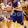 Beck Diefenbach  -  bdiefenbach@daily-chronicle.com<br /> <br /> Hinckley-Big Rock's Kaitlin Phillips (14) tears the ball from Newark's Lauren Tollefson (11) during the second quarter of the game at H-BR High School in Hinckley, Ill., on Thursday Jan. 14, 2010. H-BR defeated Newark 46 to 30.