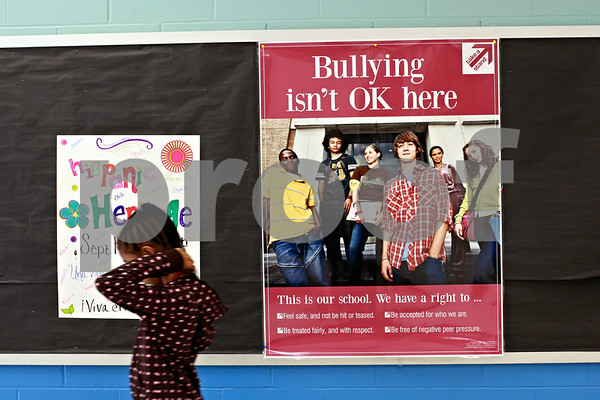 Beck Diefenbach – bdiefenbach@daily-chronicle.com<br /> <br /> Anti-bullying posters and signs hang in the hallways at Clinton Rosette Middle School in DeKalb, Ill., on Wednesday Sept. 15, 2010.