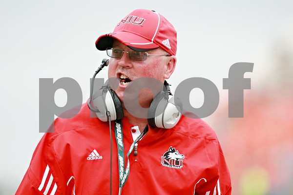 Rob Winner – rwinner@daily-chronicle.com<br /> <br /> Northern Illinois head coach Jerry Kill barks at an official after a call in the first half of their game in Champaign, Ill.  on Saturday September 18, 2010.