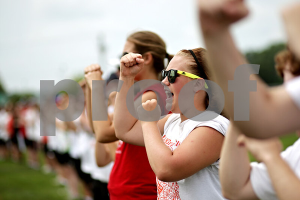 "Beck Diefenbach  -  bdiefenbach@daily-chronicle.com<br /> <br /> ""Fight! Fight! Fight!"" cheers sophomore Kristie Littlejohn during DeKalb High School's band camp at Clinton Rosette Middle School in DeKalb, Ill., on Monday August 2, 2010."