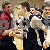 Rob Winner – rwinner@daily-chronicle.com<br /> <br /> Kaneland forward Chaon Denlinger celebrates the Knights' victory after hitting the game winning shot in DeKalb, Ill. on Friday December 17, 2010.
