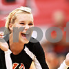 Beck Diefenbach – bdiefenbach@daily-chronicle.com<br /> <br /> DeKalb's Courtney Thomas celebrates after her team scores a point during the first game of the match against Sycamore at Victor E. Court in the Convocation Center on the campus of Northern Illinois University in DeKalb, Ill., on Tuesday Sept. 14, 2010. DeKalb defeated Sycamore 2 to 1.