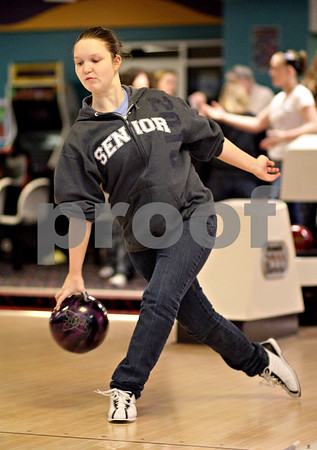 Beck Diefenbach  -  bdiefenbach@daily-chronicle.com<br /> <br /> DeKalb senior Cassy Burright releases her ball during bowling practice at Mardi Gras Lanes in DeKalb, Ill., on Tuesday Feb. 9, 2010.