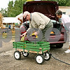 Rob Winner – rwinner@daily-chronicle.com<br /> <br /> After making a purchase of pumpkins and various gourds at Wessels Family Farm stand in DeKalb, Ill. on Wednesday September 22, 2010, Murel Hill and his wife Deloris, of DeKalb, load their vehicle.